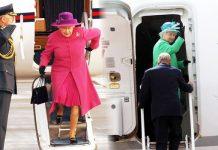 Queen Elizabeth leaving aeroplane
