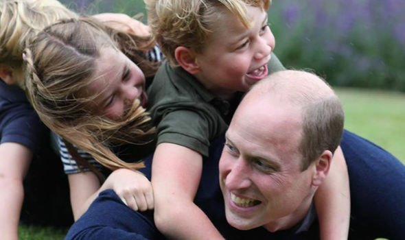 William, in a heart-warming snap with his three children