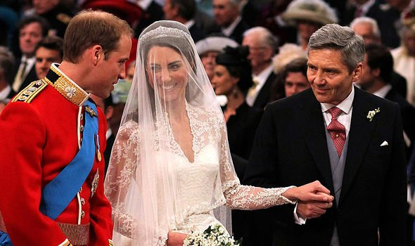 Michael giving Kate away to William during her 2011 wedding