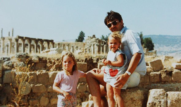 Michael with his two daughters in Jordan, where the Middletons lived in the early years of Kate's life