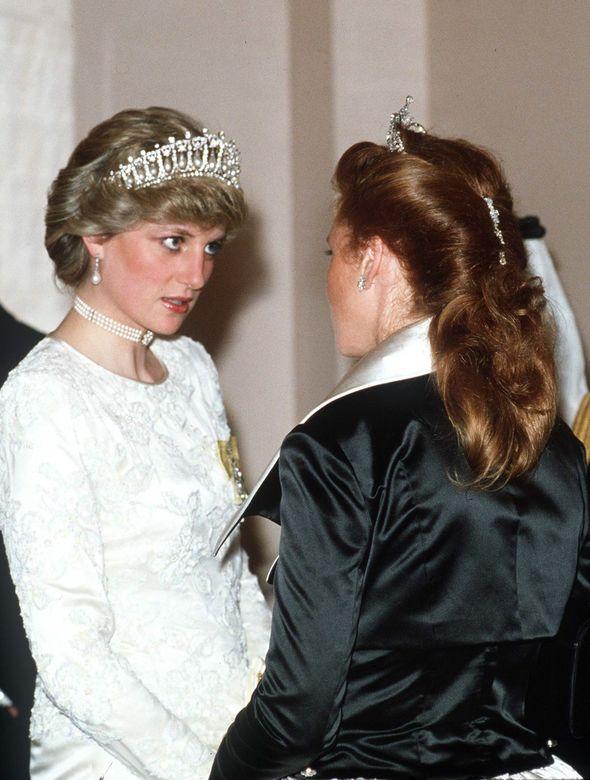 Princess Diana and Sarah Ferguson talking