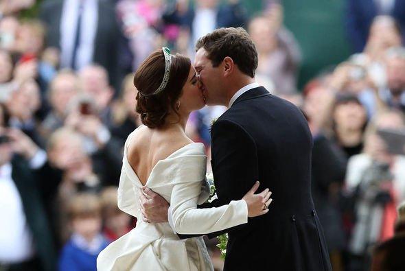 Princess Eugenie title: Eugenie kisses Jack Brooksnank