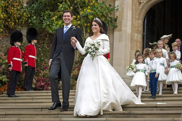Princess Eugenie title: Eugenie and Jack leave church