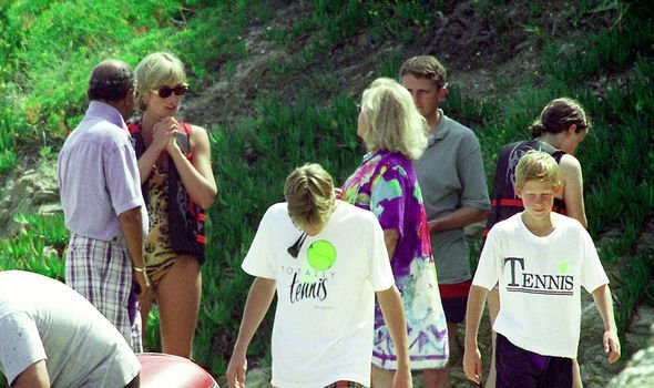 Diana was on holiday with Prince William and Prince Harry when sparks flew