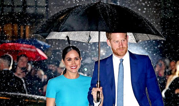 Meghan and Harry during one of their final royal engagements in March