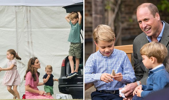 Prince George with his family, the Cambridges