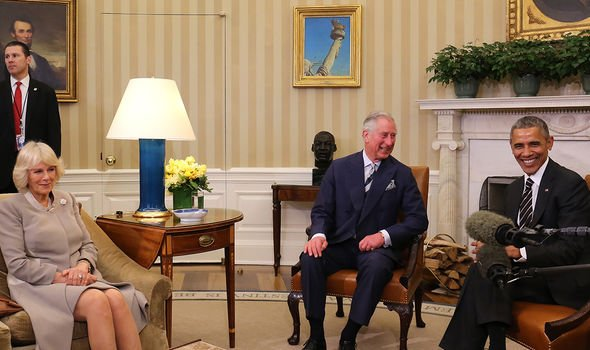 Camilla, Prince Charles and Obama in 2015 during the royals' tour of the US