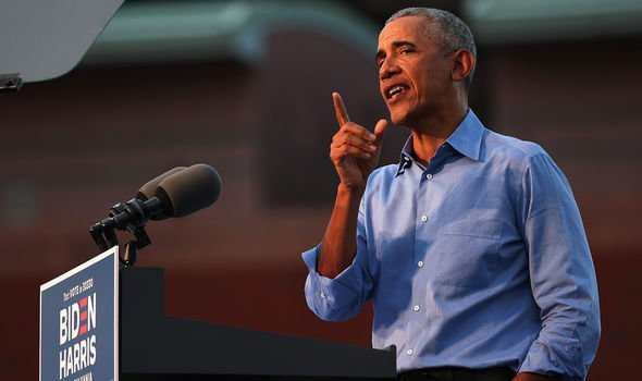 Barack Obama on the campaign trail in favour of Joe Biden