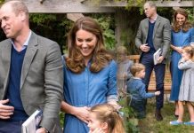Kate Middleton wearing a denim dress