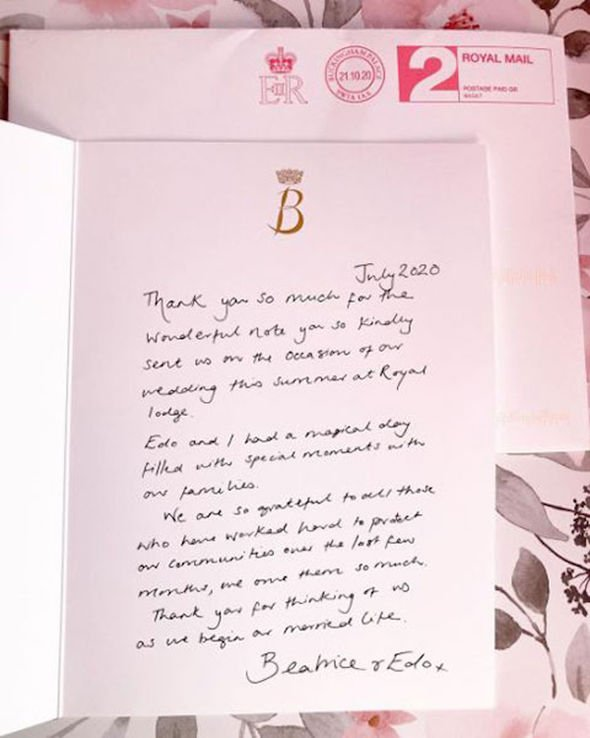Princess Beatrice wedding: Beatrice letter