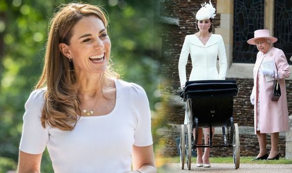 Kate Middleton pushing a pram and with the Queen