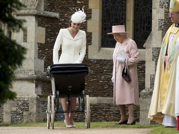 Kate is pictured with the Queen at the christening of Prince Louis