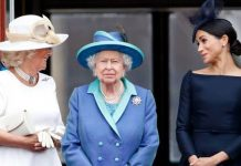 Meghan Markle and Camilla pictured with the Queen