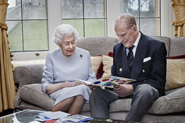 The Cambridge children designed the colourful card for the Queen and Philip
