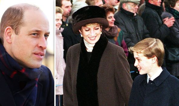 Prince William as an adult, and Princess Diana with William at Christmas