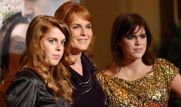 Sarah Ferguson with her daughters, Princess Beatrice and Princess Eugenie