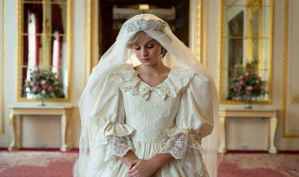 Diana, played by Emma Corrin, pictured in the famous wedding dress for The Crown