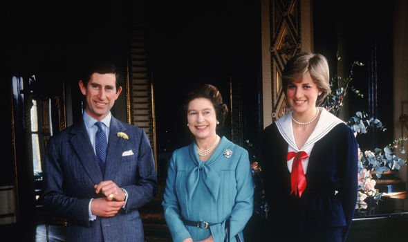 Dianna at the start of her life as a royal with the Queen and Charles