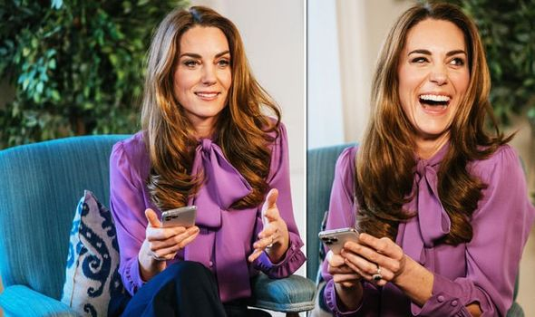 Kate Middleton wearing a purple shirt