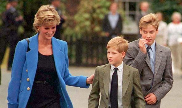 Princess Diana and Princes William and Harry