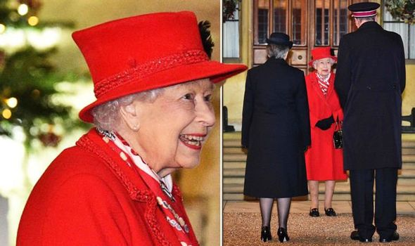 The Queen in red today
