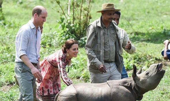 William and Kate stroking a baby rhino during an overseas tour