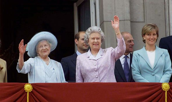 Sophie with the Queen and the Queen Mother on Buckingham Palace's balcony