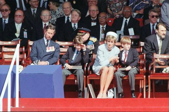 Charles and Diana: The pair pictured at a VE Day ceremony in 1995 with Harry and William