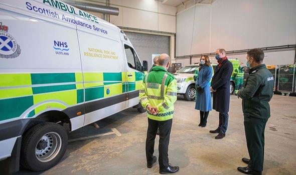 Prince William news: The Duke and Duchess of Cambridge speak with staff during a visit to the Scottish Ambulance Service Response Centre in Newbridge, west of Edinburgh in Scotland