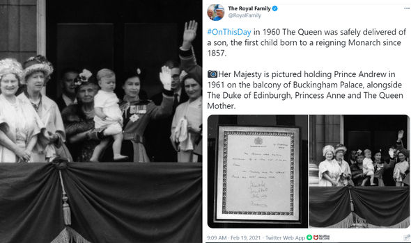 The Royal Family's Twitter post to mark Andrew's 61st birthday earlier this month
