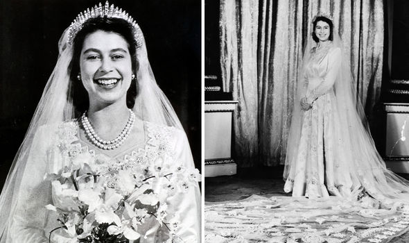The Queen's wedding dress from 1947 included a nod to the same painting