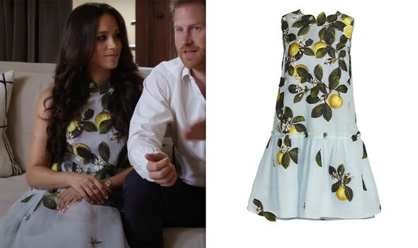 Meghan with Harry in the Spotify promo wearing a designer dress which includes a nod to a historical painting