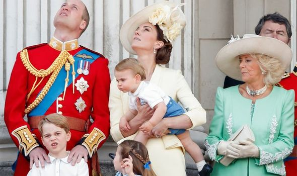 Prince William, Duke of Cambridge, Catherine, Duchess of Cambridge, Prince Louis of Cambridge, Prince George of Cambridge, Princess Charlotte of Cambr