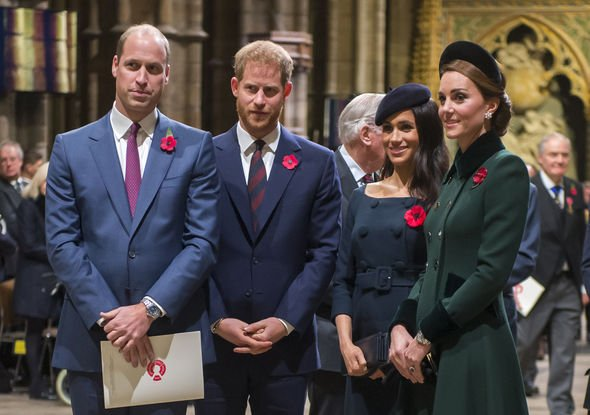 Harry and Meghan with William and Kate at Westminster Abbey in 2018