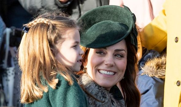 Princess Charlotte of Cambridge and Catherine, Duchess of Cambridge attend the Christmas Day Church service at Church of St Mary Magdalene on the Sand