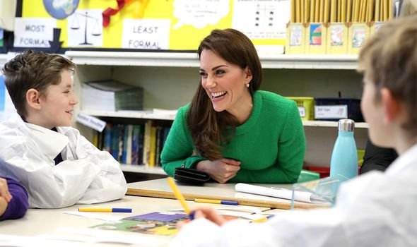 Britain's Catherine, Duchess of Cambridge, (C) visits Lavender Primary School in London on February 5, 2019, in support of the children's mental healt