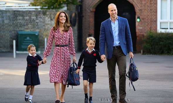 Princess Charlotte arrives for her first day of school, with her brother Prince George and her parents the Duke and Duchess of Cambridge, at Thomas's