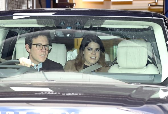 Princess Eugenie and Jack Brooksbank leaving hospital as parents with August