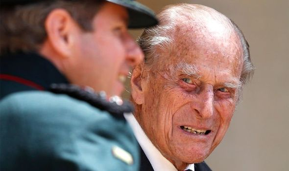 The Duke of Edinburgh at Windsor Castle speaks to Assistant Colonel Commandant, Major General Tom Copinger-Symeas during a ceremony for the transfer of the Colonel-in-Chief of the Rifles from the Duke to the Duchess of Cornwall, who will conclude the ceremony from Highgrove House. 22-Jul-2020