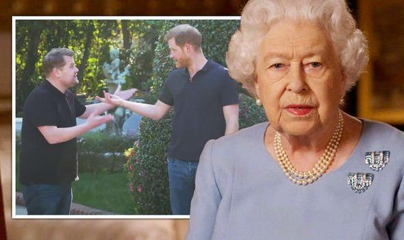queen news prince harry james corden queen vaccine megxit meghan markle