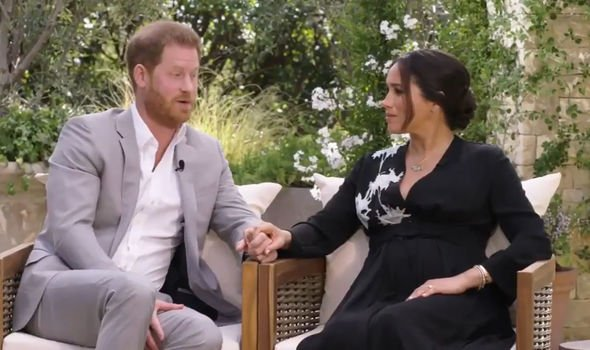 The Duke and Duchess of Sussex during their interview with Oprah