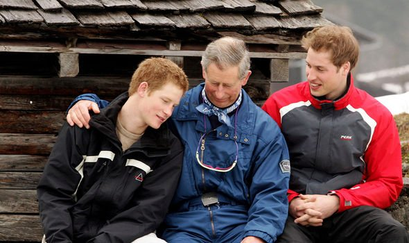 Charles was once close with both of his sons, pictured with Harry and William while skiing