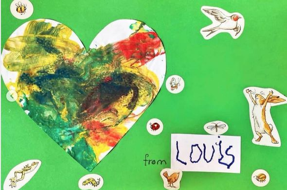 Louis made a sweet piece of art emboldened with animal stickers
