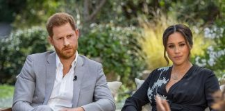 In this handout image provided by Harpo Productions and released on March 5, 2021, Oprah Winfrey interviews Prince Harry and Meghan Markle on A CBS P