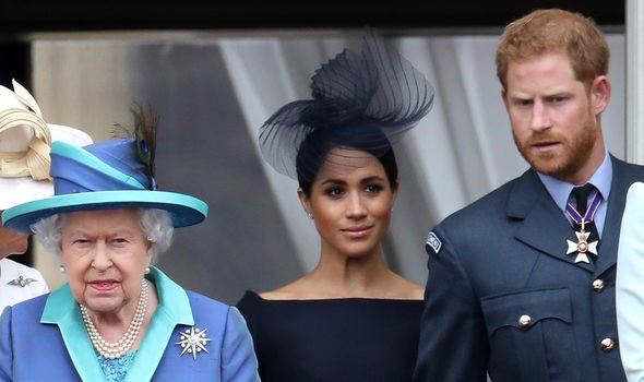 The Queen with Meghan and Harry on the Buckingham Palace balcony