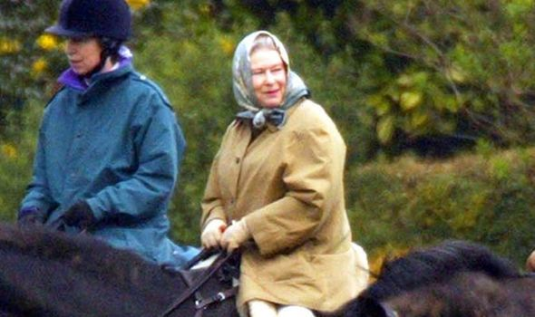 The Queen and her daughter, the Princess Royal, riding near Windsor Castle. Members of the Royal family have gathered at Windsor to mourn the death o
