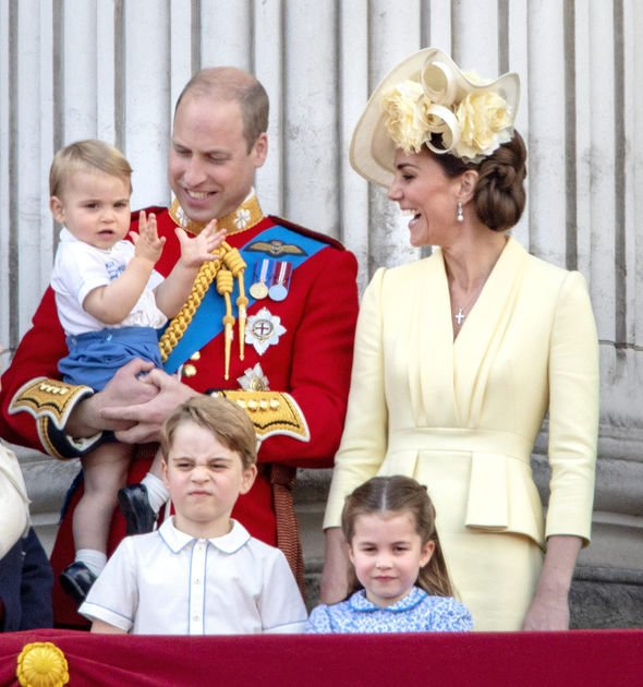 Prince William, Princess Kate, Prince George, Princess Charlotte and Prince Louis at the balcony of Buckingham Palace in London, on June 08, 2019, aft