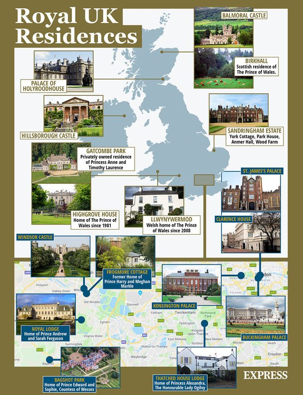 Express.co.uk graphic showing off royal family homes