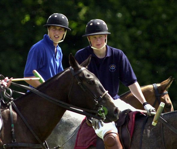 Prince Harry on the Eventers team and Prince William on the Jockeys team take a break whilst playing in the Jockeys v Eventers Charity polo match at T