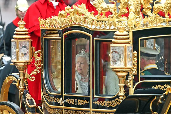 File photo dated 14/10/19 of Queen Elizabeth II, accompanied by the Duke and Duchess of Cornwall, returning to Buckingham Palace, London, in the Diamo